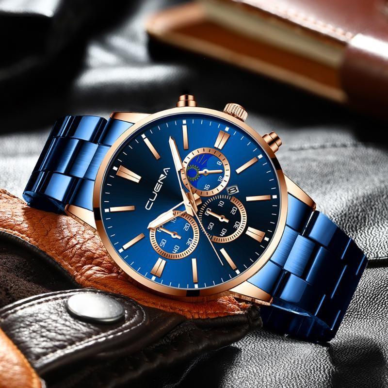 Homens relógios topo grande clássico ouro preto relógio de quartzo 2021 relógios de pulso dourados impermeáveis