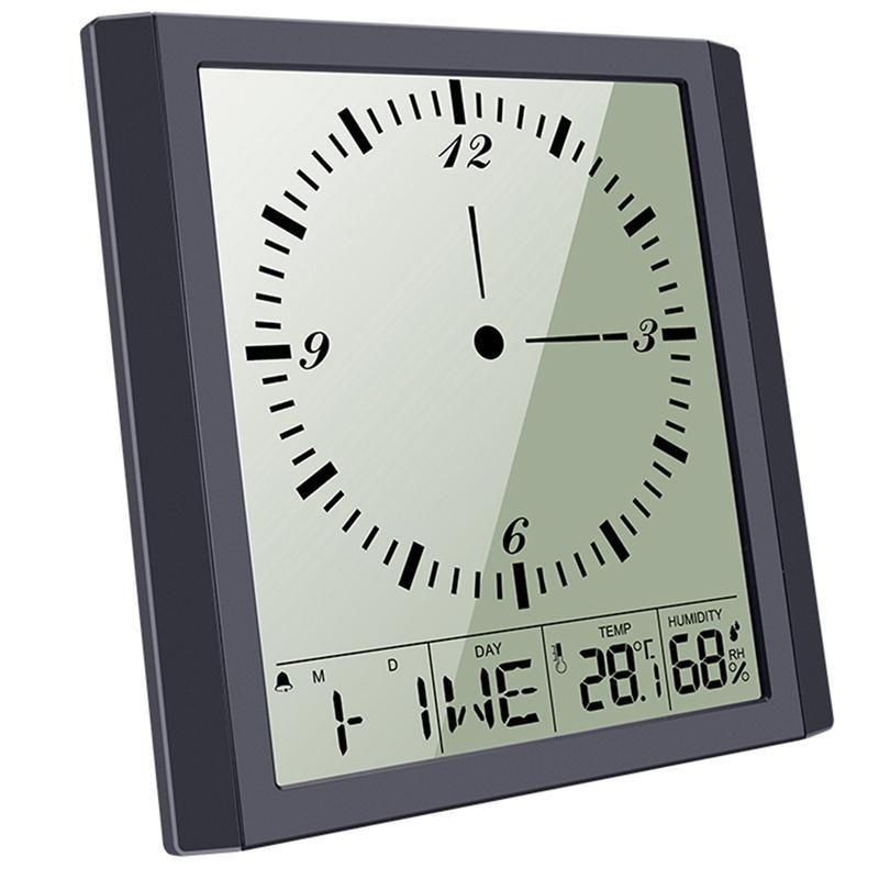 디지털 벽시계, 침실에 대 한 알람 시계 홈 장식, 시간 / 달력 / 온도 디스플레이가있는 대형 LCD 화면