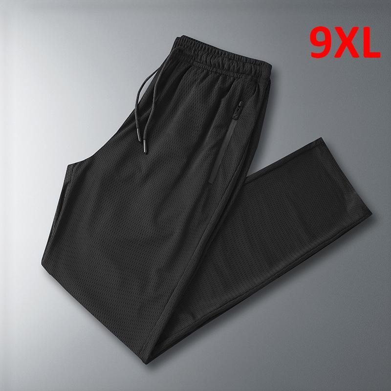 Pantalons Haute Qualité Hommes Casual Summer Pantalon de survêtement Cool Pantalon Mâle Pantalon ELASTIQUE RESPIRABLES PANTAUMENT DE TAILLE 8XL 9XL PANT NOIR HX337
