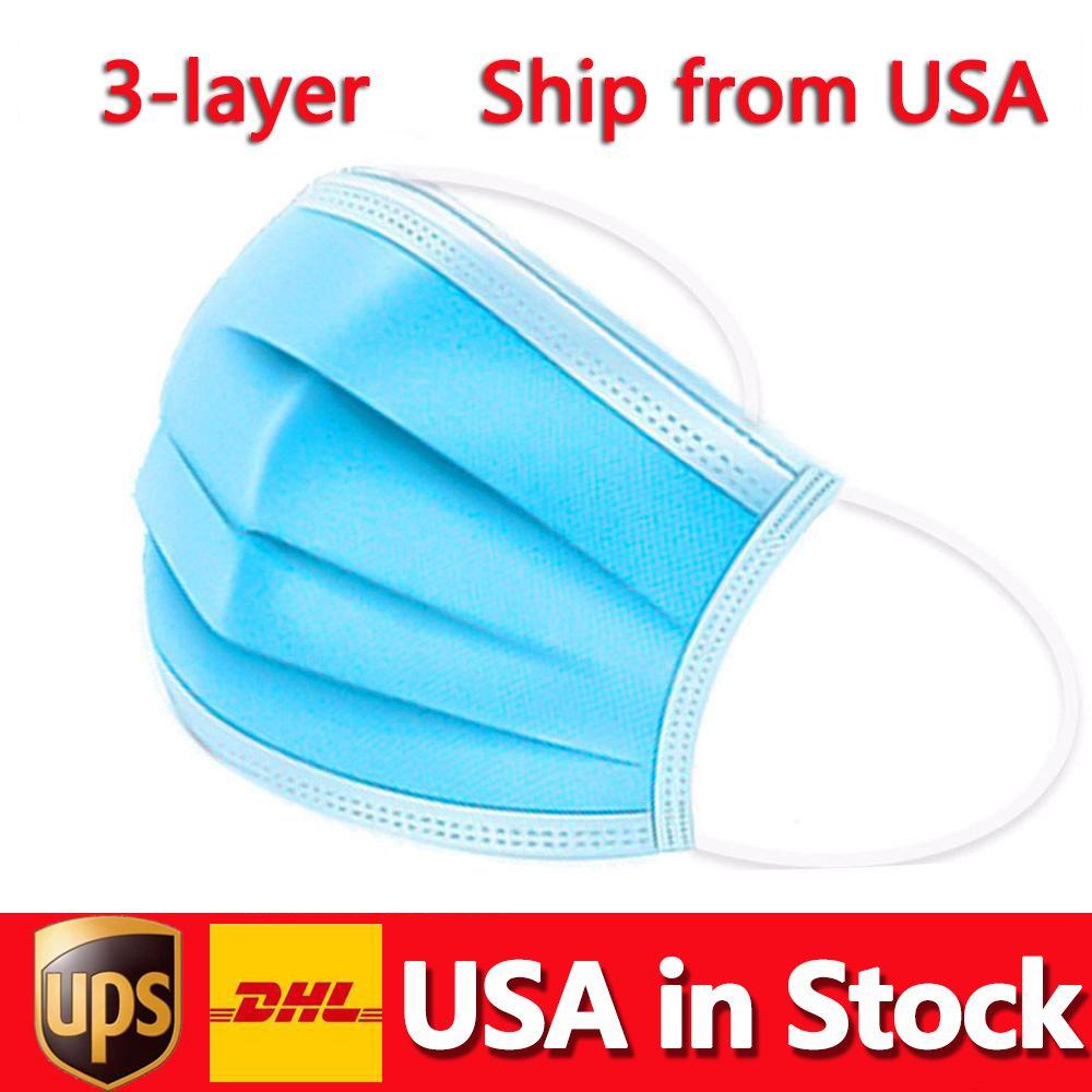USA Auf Lager Einwegmaske 50pcs 3-Layer Schutz und persönliche Gesundheit mit Holousinen-Mund-Sanitärmasken