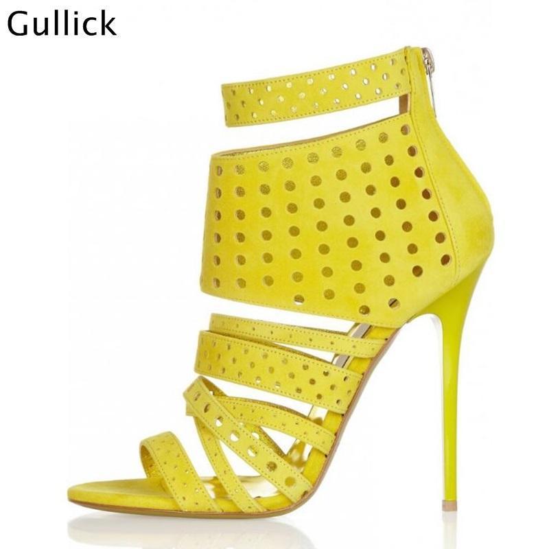 Gullick 패션 프론트 스트라이프 울트라 하이힐 여자 샌들 10cm 그물 스타일 신발 2021 공장 가격 신발