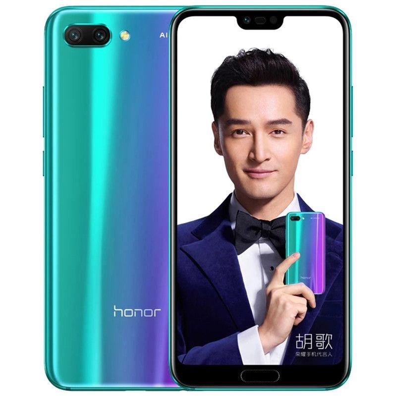 """الأصلي Huawei Honor 10 4G LTE الهاتف الخليوي 6 جيجابايت RAM 64GB 128GB ROM Kirin 970 Octa Core Android 5.84 """"24.0MP بصمات الأصابع الهاتف المحمول الذكية"""