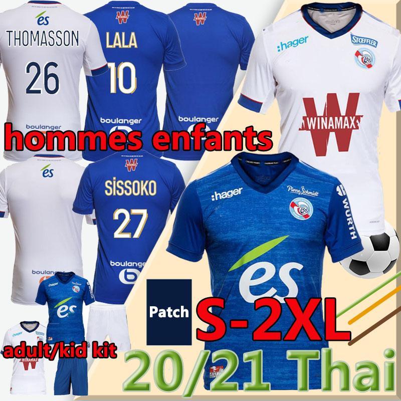 Mailleot de Football Shirts RC Strasbourg Alsace Soccer Jerseys 2021 Djiku Thomasson Lala Mothiba Hommes Enfants الرجال الاطفال