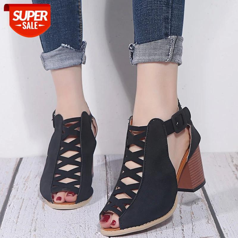 Suede Peep Toe Hollow High heels sandals women New Summer shoes Sexy Square heel Gladiator pumps Party Buckle female #y17J