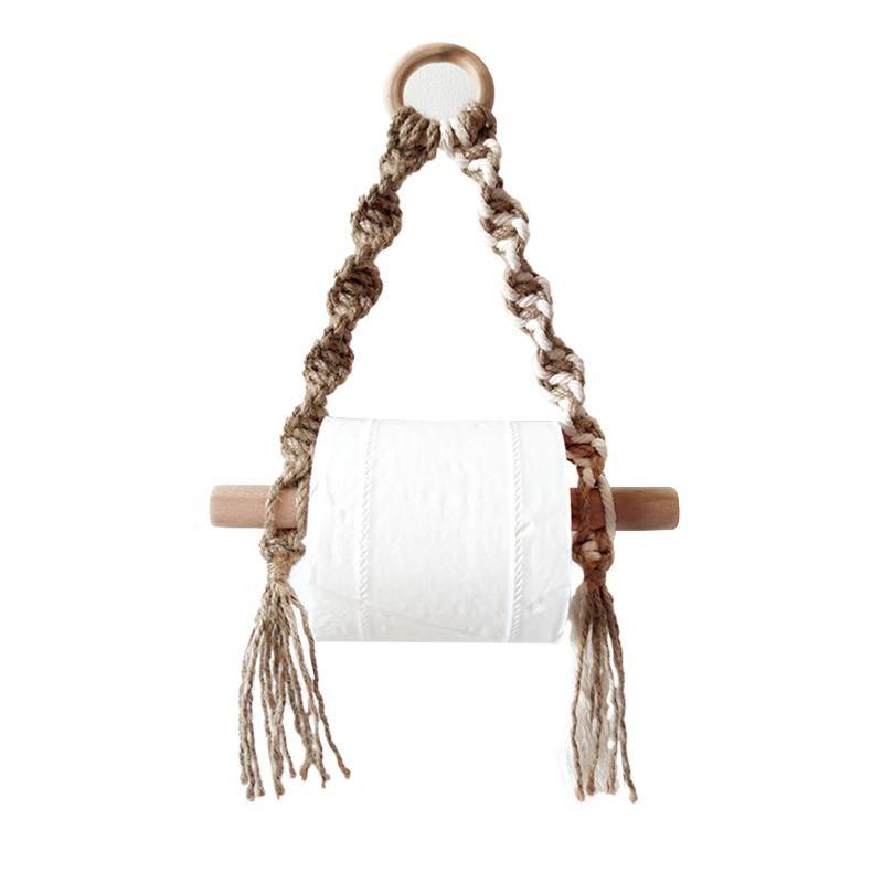 Talleres de papel higiénico Tapones de baño Vintage Macrame Macrame Woven Top Holder Hogar Decoración Hogar Toalla Colgando Cuerda Punch Organizador Gratis