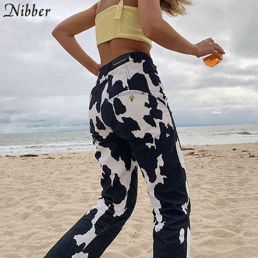 Nibber случайные улицы контрастные цвета джинсы женские свободные спортивные штаны осенние моды печатающие брюки дизайн высокие талии пады женские C0401