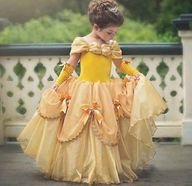 Princesse Girls Belle Dress Up Cendrillon Halloween Cosplay Costume Fantasy Fête Robes Enfants Boule De Boule Robe Vêtements T200709