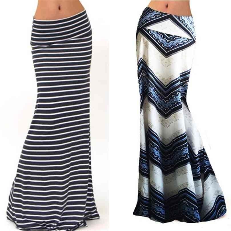 Moda Kadınlar Yaz Uzun Etek Çizgili Dalga Büyüleyici Elastik Yüksek Bel Boho Baskı SAIA Falda Kadın Maxi 210729