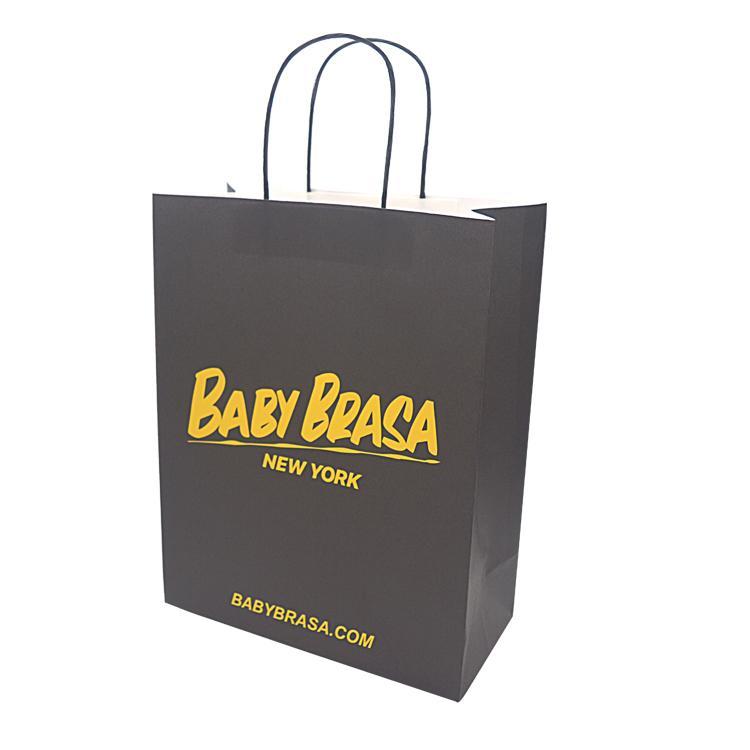 100٪ مخصص كرافت ورقة التسوق الأسود حقيبة للملابس