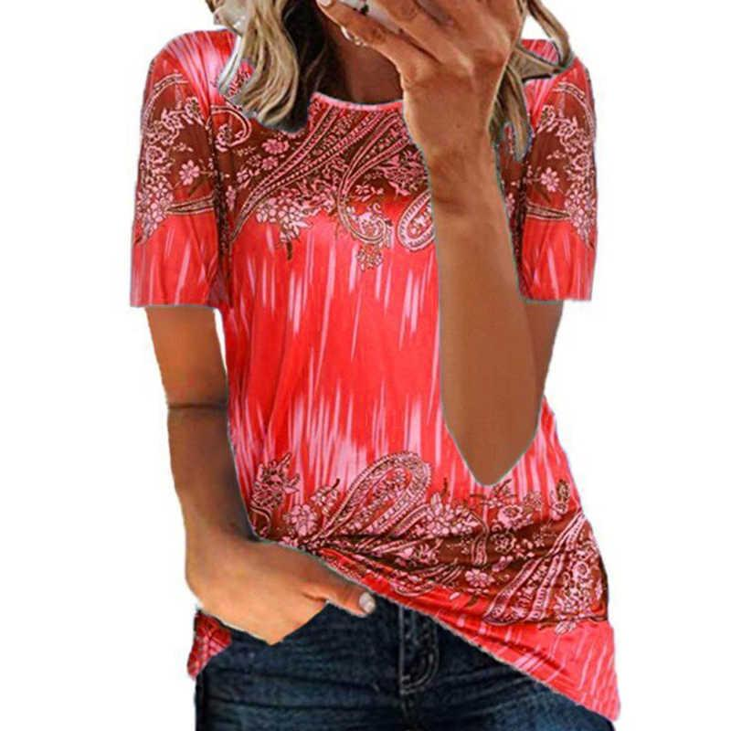 2021 New Fashion Donne Estate Collo rotondo Casual Allentato Floral Stampato Flower T Shirt Tie Dye Top Manica corta Y0606