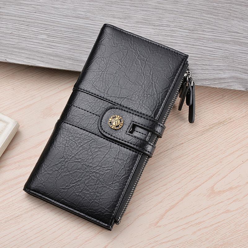 Monedero retro multifuncional para hombres de tela de teléfono de lujo del diseñador de lujo monedero de monedas de monedas de monedas de monedas de cuero