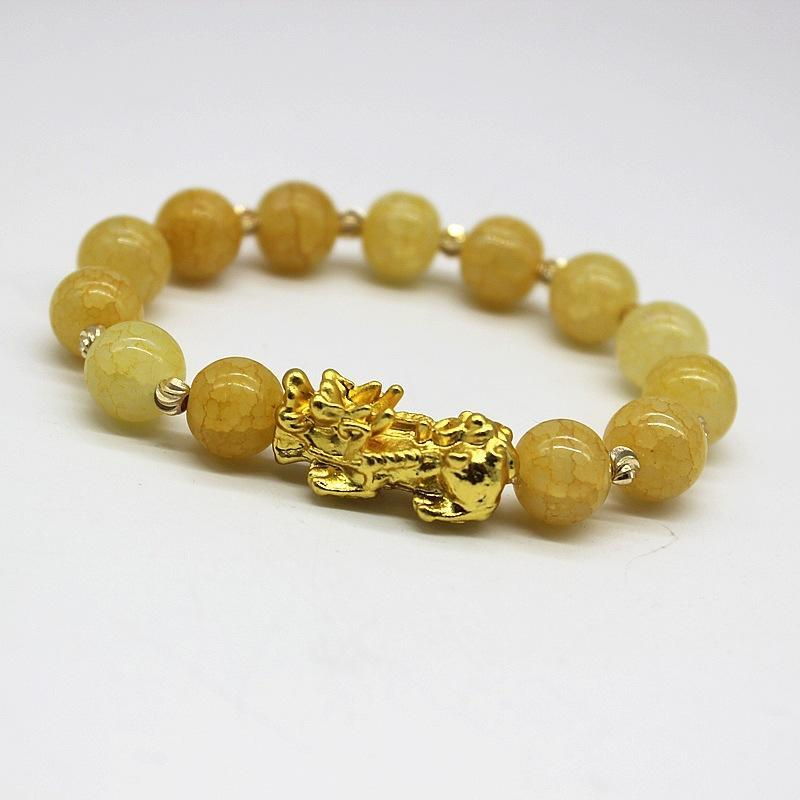 Crack Nature Stones Brave Troops Lucky Bangles Bracelet Glass Beads Chinese Energy God Beast Gift For Men Women Jewelry Charm Bracelets