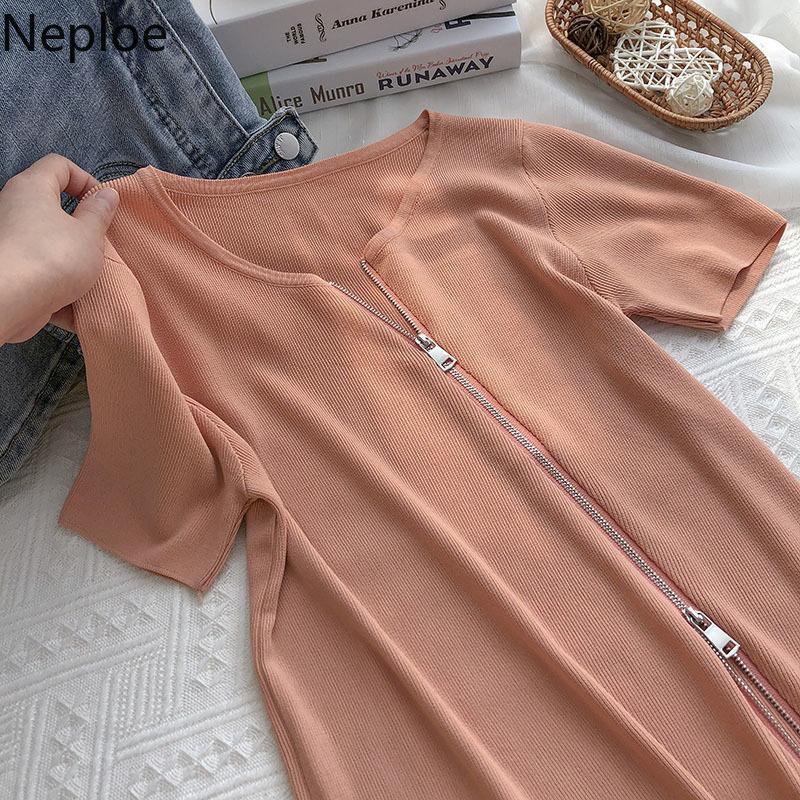 Chic Kadın Tişörtleri Önyargılı Bant Fermuar Örme Gömlek O-Boyun Katı Renk Kısa Kollu Tees Yaz Moda Ince Tops Mujer 210422