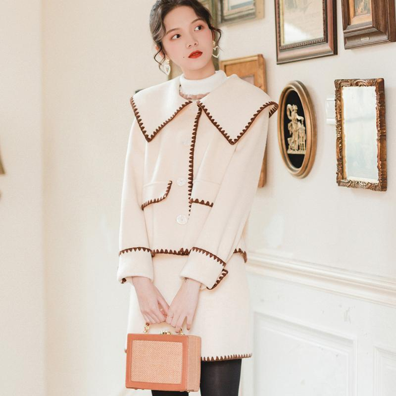 Women's Tracksuits Winter Women Simple Retro Coat Skirt Suit Vintage Thick Two Piece Sets Color Block Korean Style Fashion Suits Autumn Prep