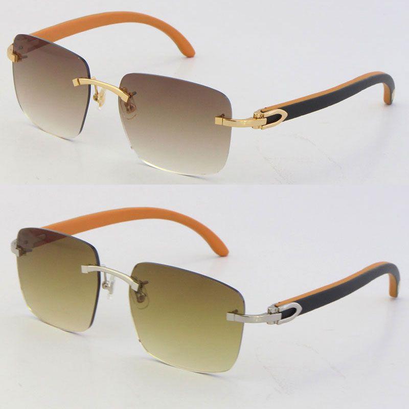 2021 C 장식 안경을 가진 새로운 나무 18K 골드 우드 림없는 선글라스 유니섹스 장식용 라이트 렌즈 패션 액세서리 디자이너 안경 UV400