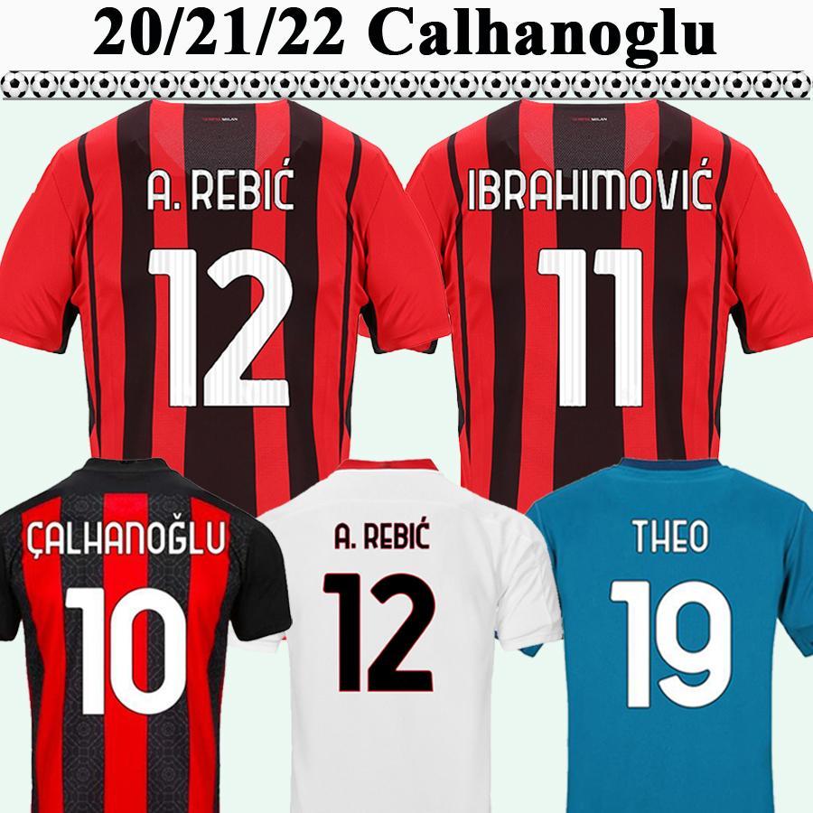 20 21 22 Calhanoglu Mens Soccer Jerseys Theo Ibrahimovic Rebic Bennacer Accueil 3ème Shirt de football Romagnoli Kessie Uniformes à manches courtes