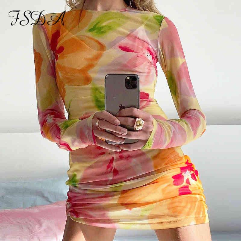 FSDA MESH 2021 Estampado floral Vestido de manga larga Mujer Sexy Ver a través del verano Primavera Y2K Playa Party Mini Bodycon Vestidos X0521