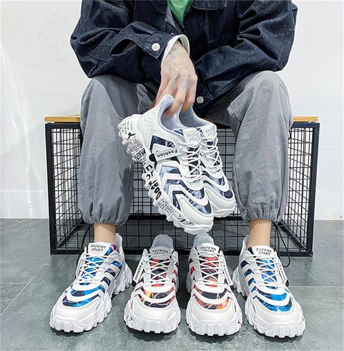 Version All-Match-Frühlingssport-Herrenschuhe mit dicken Sohlen, um den Trend Youth Runness Net rot atmungsaktiv rutschfest und elegant zu erhöhen