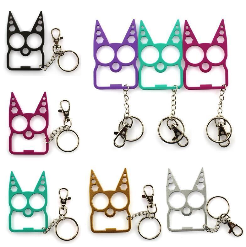 6 색 다기능 자기 방어 키 체인 정신 고양이 자동차 키 체인 병 오프너 크리 에이 티브 렌치 깨진 창 열쇠 고리 패션 핸드백 열쇠 고리