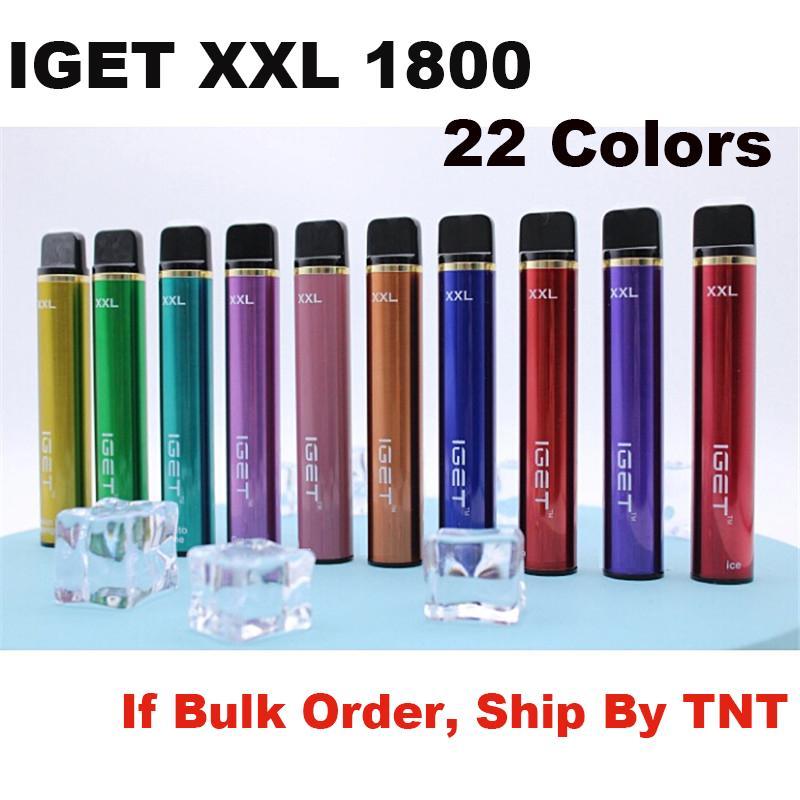 25 colores originales Iget XXL Desechable E Cigarrillos POD DISPOSITIVO KIT 1800 Puffs 950mAh Batería 2.4ml Carácter precargado Vape Pen Authentic vs Puff Bar Plus Flex