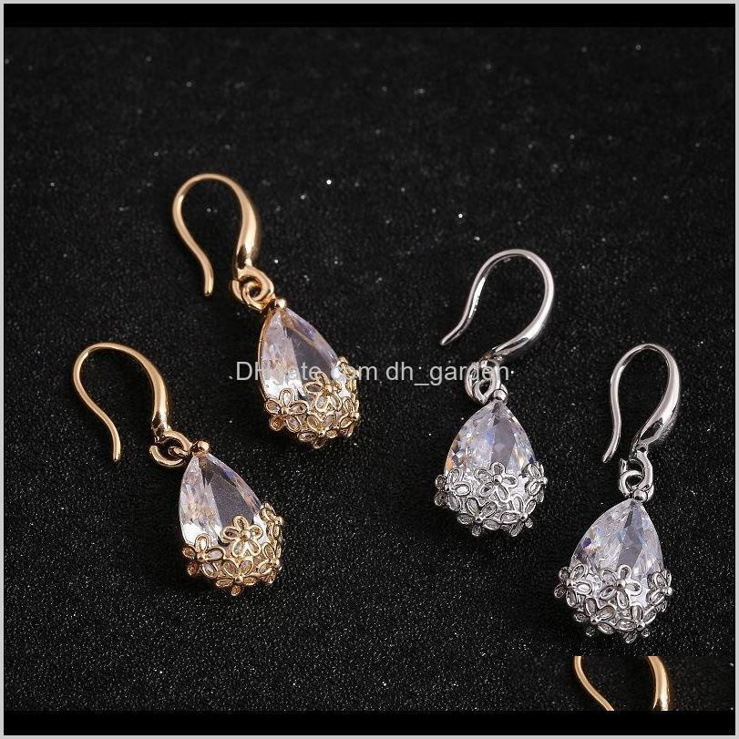 Люстра Dropshaped Zircon Goldcolor Hook Drop для женщин Цветы Полые Crystal Crangly Серьги Мода Ювелирные Изделия NMVVK YDWHN
