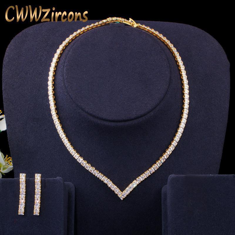 Boucles d'oreilles Collier Très brillant Cubic Zirconia Pave Jaune Or Couleur Femmes Femmes Couette et boucles d'oreilles Ensemble de bijoux T421
