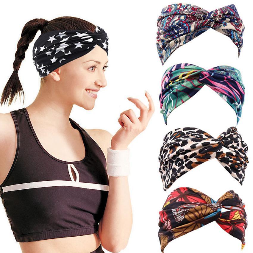 Kerchief Cross Hair Bands Sports Absorb Sweat 20 Styles Fleurs Print HairLace Fitness Yoga Soft Coton Bandeau de cheveux LLA727