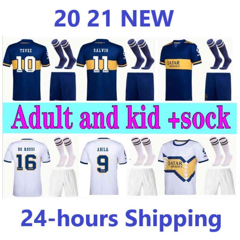 Juniors Futbol Formaları Yeni Ev Uzaktan 20 21 Boca Yetişkin Seti Gago Carlitos De Rossi Tevez Pavon Kids Kiti Çorap Erkek Futbol Gömlek