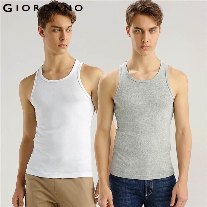 Giordano Homens Tanque 2-Pack Essencial Colete Sólido Algodão Masculino Sem Mangas Tops Slim Undershirt Chalecos Hombre Tanque Homens 210408