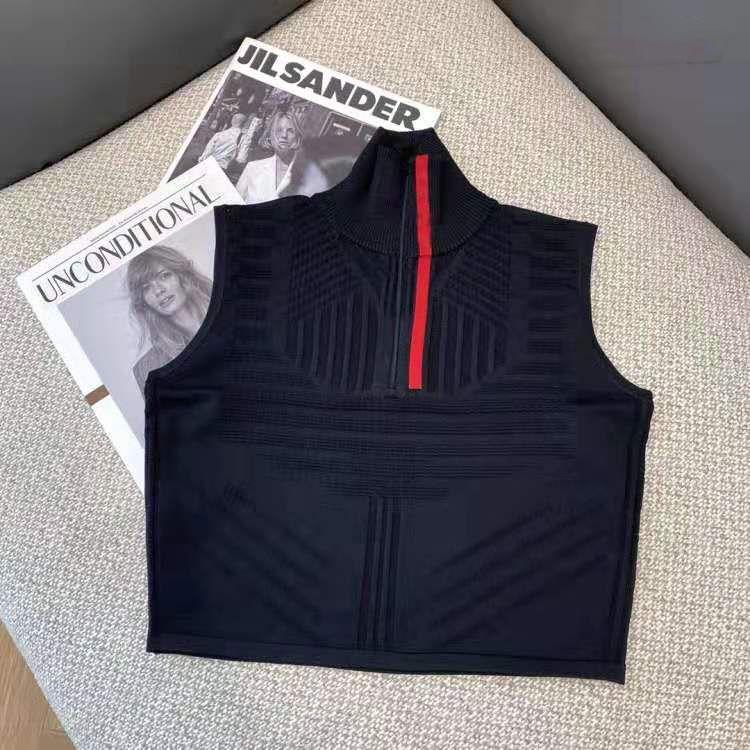 Mulheres Tops Camisola Malhas de lã Tees Zipper Pescoço Ajustar com Carta Listrado Pescoço Senhora Slim Suéter sem mangas Camisas Spring Outono Estilo Tamanho S-L