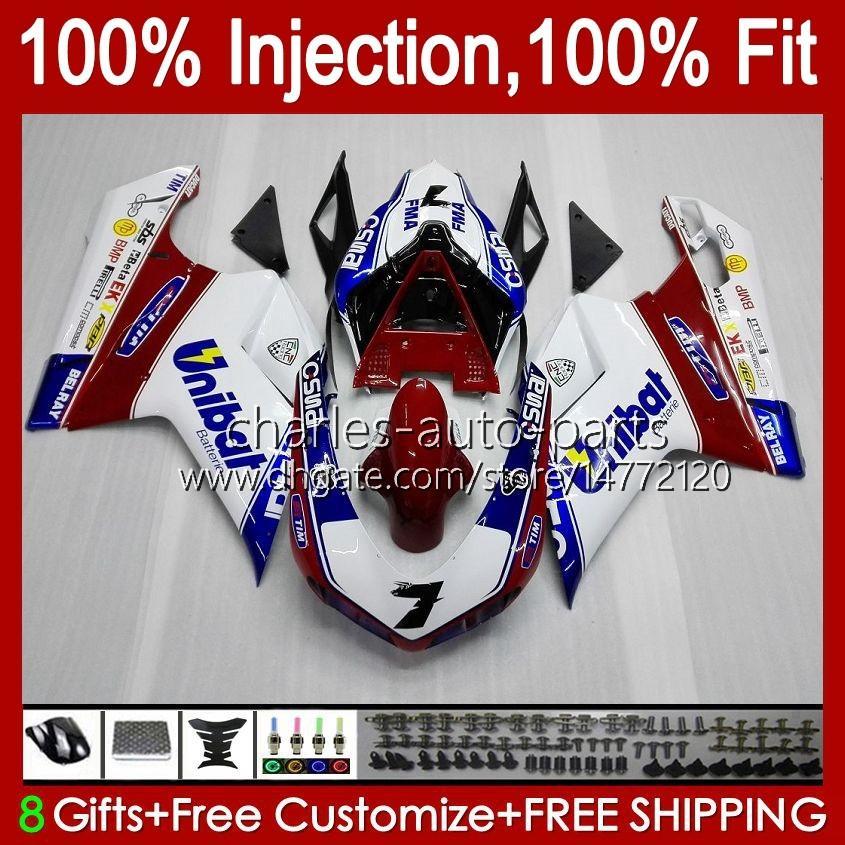 Inyección para Ducati 848 1098 1198 S 848R 1098R 07 08 09 10 11 75NO0 1198S 848S 1198R 2007 2009 2009 2010 2011 Pearl White Fairing + Soporte