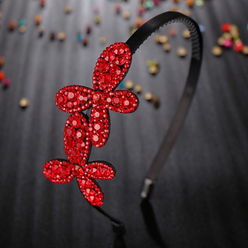 Haarclips Barrettes Einfachheit Zwei Blumen Kopf tragen Luxus Stirnband für Frauen Strass Rutschfeste Grenze Mädchen Haarnadel Fancy Accessorie G