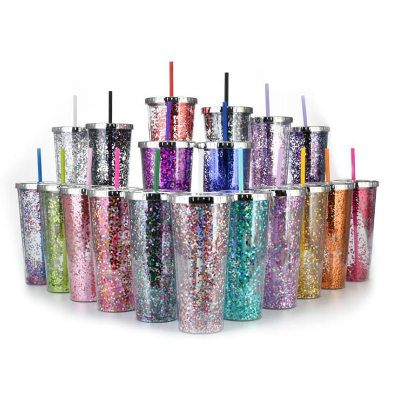 24oz gliter plástico tumblers shimmering pó de água portátil xícaras com palha reusável drinkware verão gelo canecas FY4685