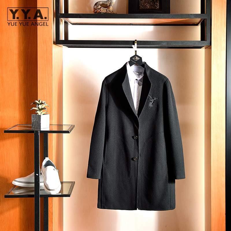 Brand Business Casual Mens Lana soprabito invernale Slim Stand Collar Single Breasted Trench Coat Moda Ricamo Giacca lunga Miscele da uomo