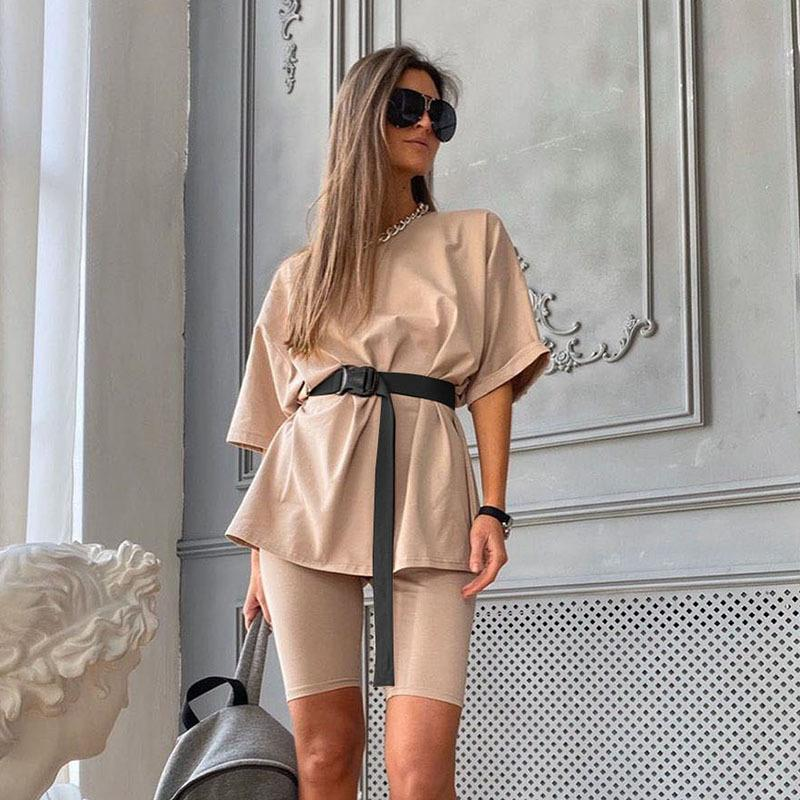 Biker Shorts 2 Piece Set Summer Top Sweatsuits For Women Sports Fitness Solid Loose Matching Sets Streetwear Two Outfits Dress