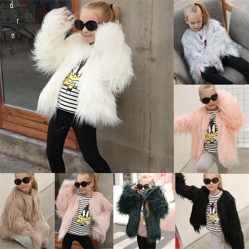 Autunno Bambini Giacche di pelliccia per ragazze Parka Cascata Baby Girls Faux Fur Coat Princess Girl Cappotto di pelliccia Bambini Capispalla 2-10Y 968 V2