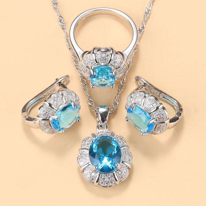 أقراط قلادة السيدات فضة اللون مجموعات مجوهرات للنساء 2021 الأزرق مكعب زركونيا حلقات / كليب أقراط / قلادة مجموعة هدية مربع مجانية