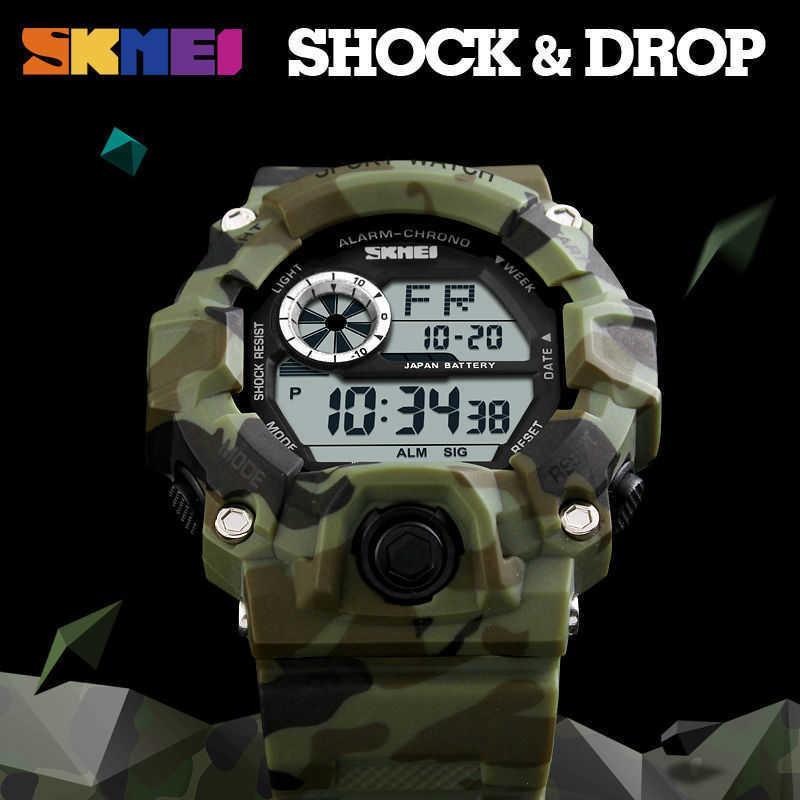 SKMEI ao ar livre esporte relógio homens despertador 5bar relógios militares impermeáveis LED display choque relógio digital reloj hombre 2019 y0708