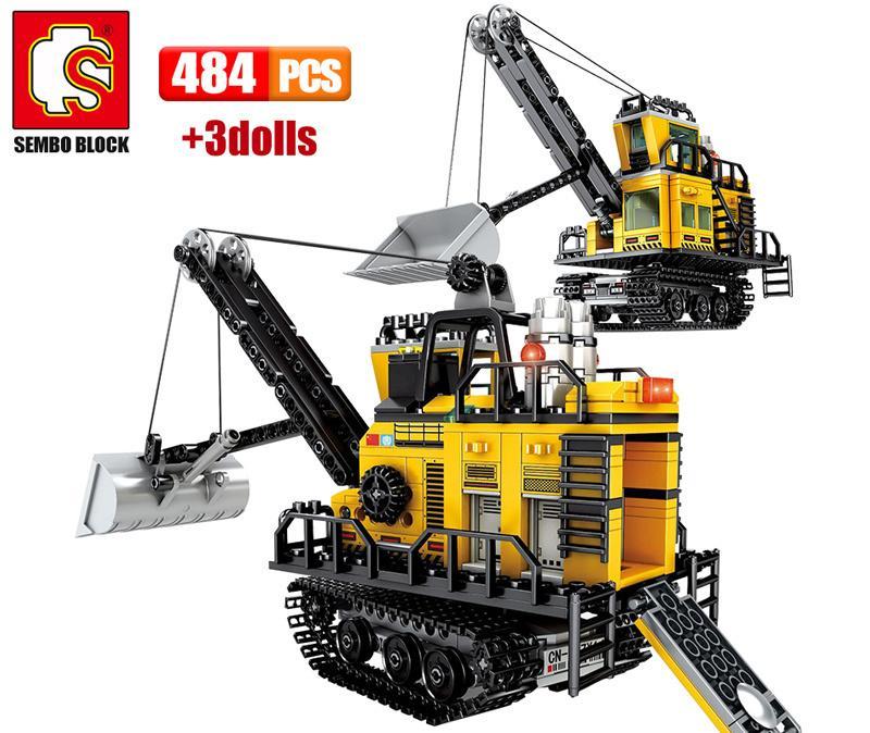 SEMBO 484 STÜCKE City Engineering Bergbaumaschinen Gabelstapler Bausteine Bagger Truck Auto Ziegel Spielzeug für Kinder 210415