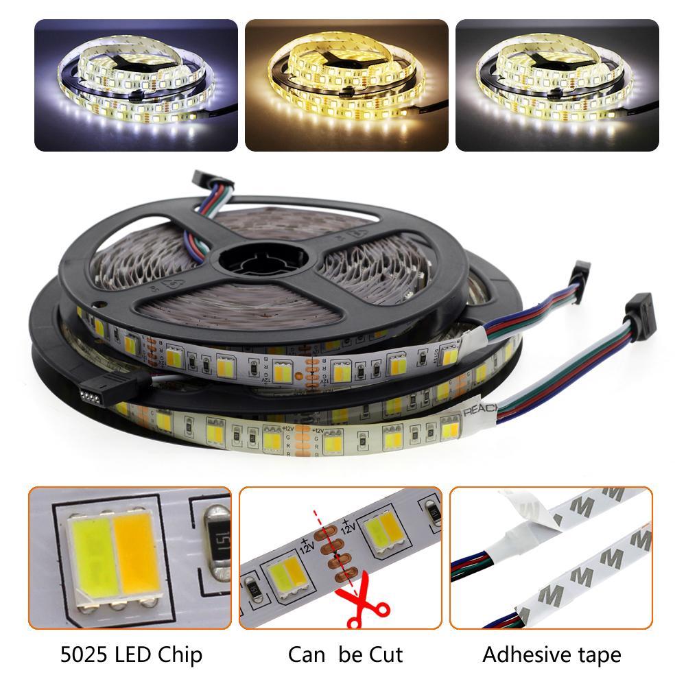 LED 스트립 더블 화이트 5025 60LEDS / M 2835 180LEDS / M CCT 유연한 LED 가벼운 장식 리본 차가운 화이트 + 따뜻한 흰색 12V 5M / LOUN