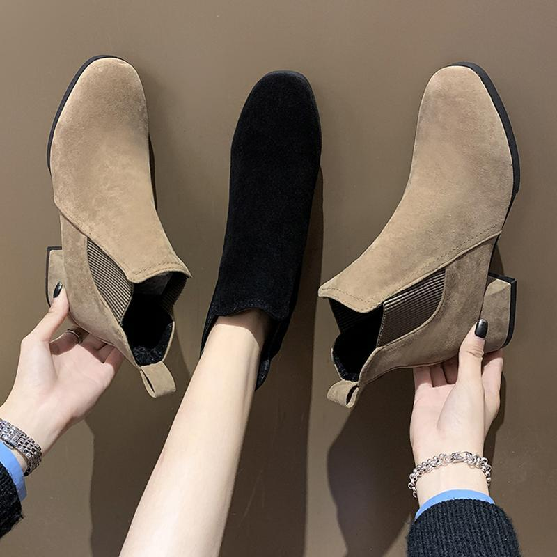 Boots Round Toe Rock Shoes Woman Rubber Luxury Designer Boots-Women Rain Med Ankle High Heel Fashion Ladies 2021 Rome Solid Flo