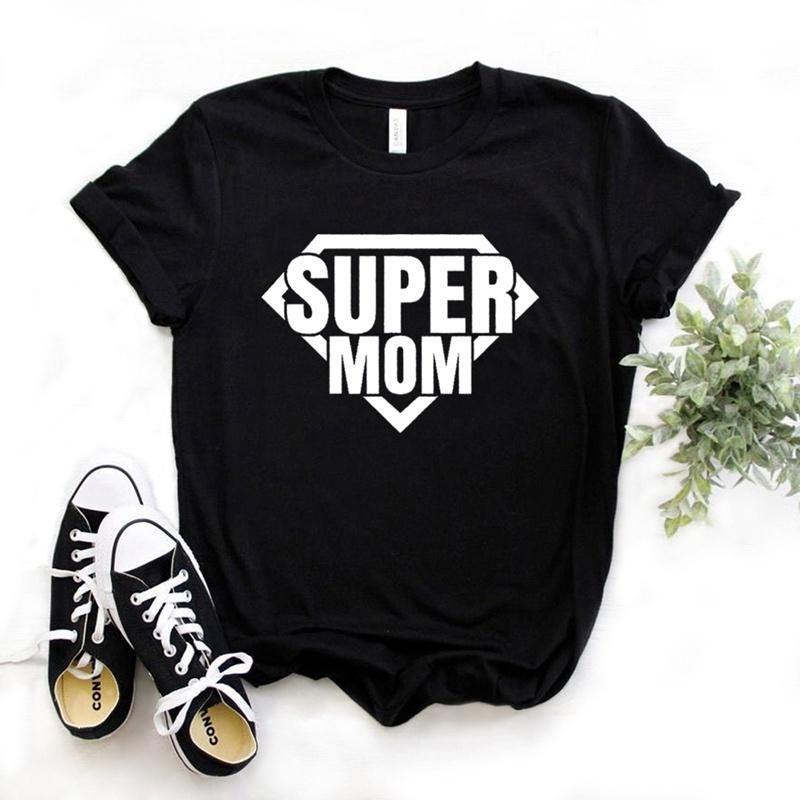 Kadın T-shirt Süper Anne Baskı Kadınlar Tshirt Pamuk Rahat Komik T Gömlek Hediye Lady Yong Kız için Üst Tee 6 Renkli Bırak Gemi S-973