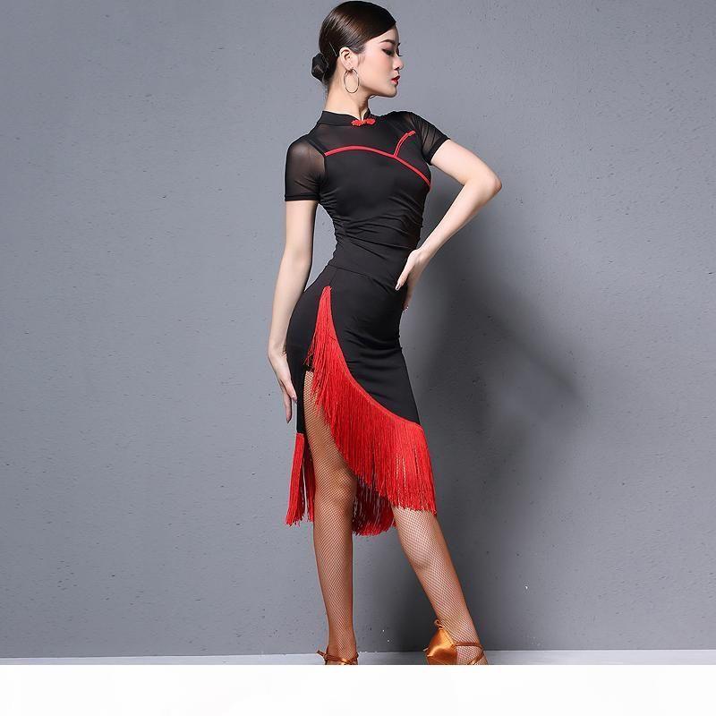 New Latin Dance Skirt Femmina Adult Pratica Abiti Fringe Abiti professionali Performance Latin Cheongsam Abito per le donne DQL1223