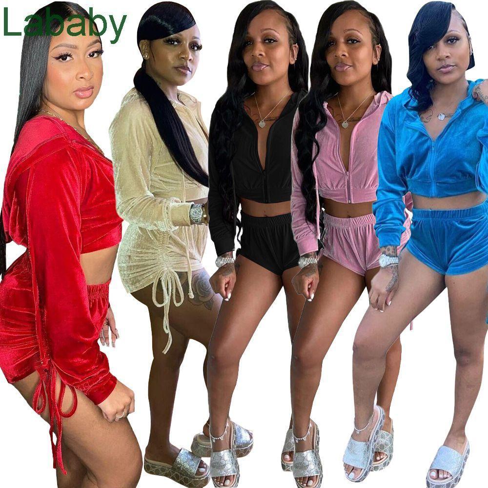 Summer Women Tracksuits Designer Sexy Korean Velvet Pleated Open Waist Coat Shorts Solid Color 2 Piece Jogger Sets Yoga Outfits Sportwear