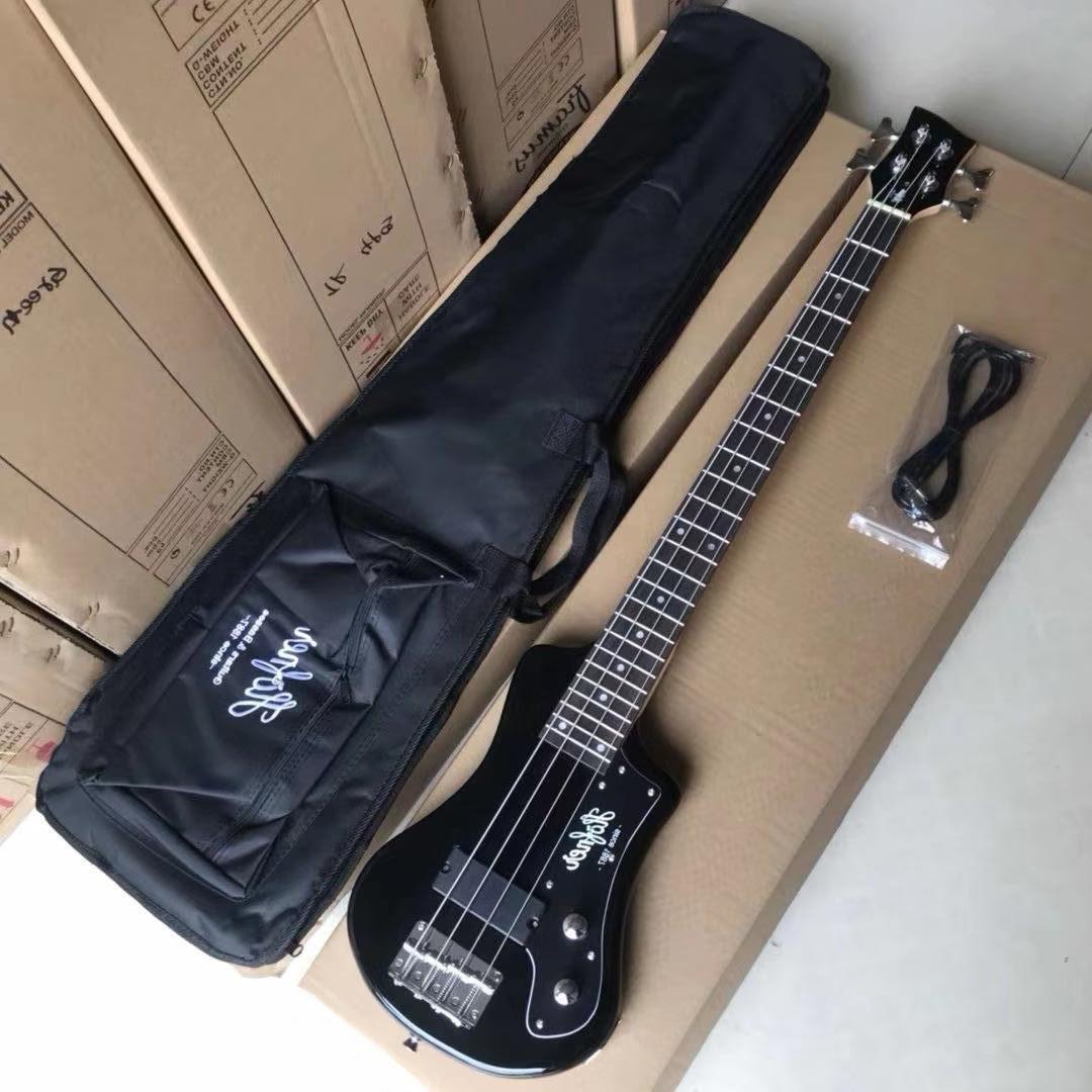 Easy-Taking Black Hofner Shorty Bass Guitar 99cm alto 4 corde personalizzato Mini Basse Guitare progettato in tedesco