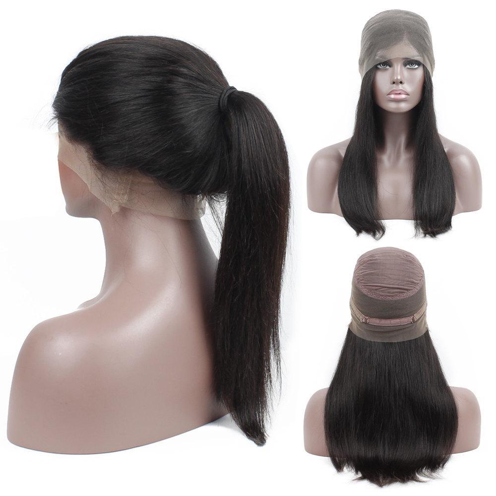 360 كامل الرباط أمامي شعر الإنسان الباروكات بيرو مستقيم الشعر اللون الطبيعي قبل التقطه الدانتيل الجبهة الباروكات مع شعر الطفل نوعية جيدة ريمي الباروكة