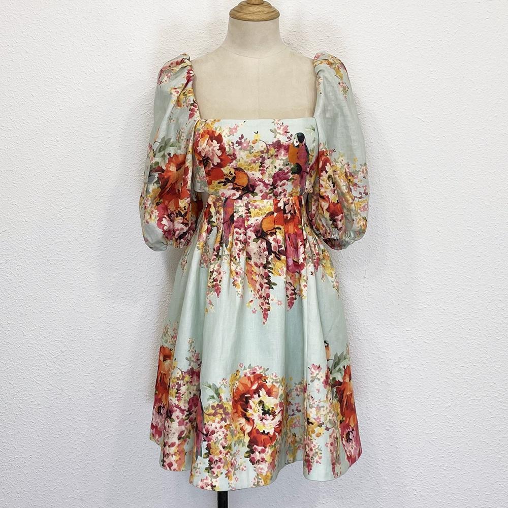 Elegante vestido de lino con mangas de linterna de primera calidad en estilo de moda bohemia con estampado floral rojo verano 2021