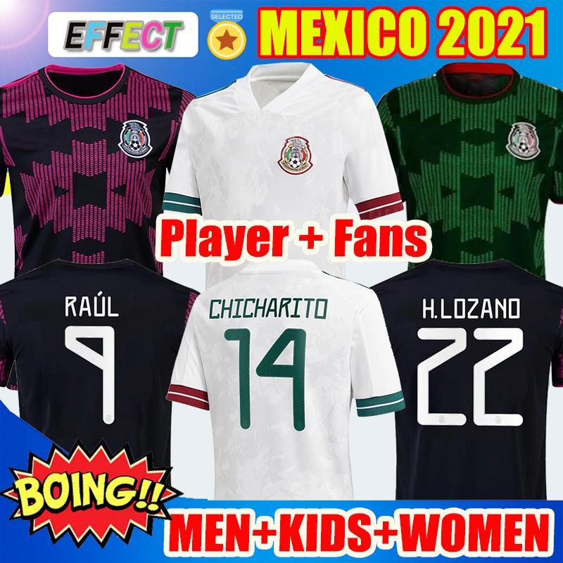 Jogador Versão Fãs 2021 2122 México Soccer Jersey National Copa América 20 21 22 Chicharito Lozano Guardado Carlos Vela Raul Homens Crianças Mulheres Futebol Camisas