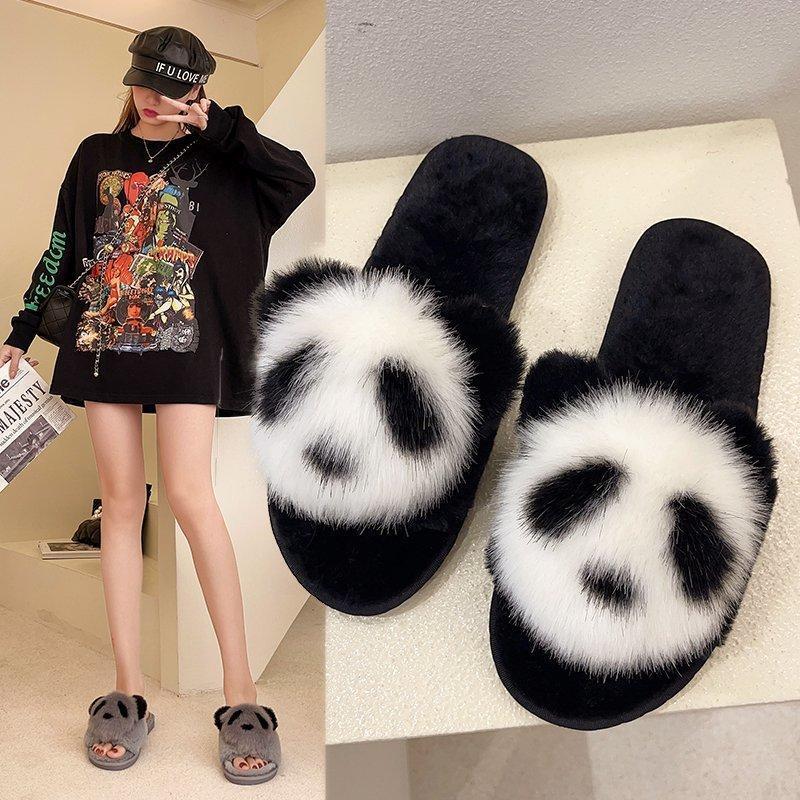 Casa de Inverno Mulheres Chinelos de Pele Moda Bonito Panda Quente Senhoras De Pelúcia Sapatos Fluffy Mulher Liso Fuzzy Slides para meninas