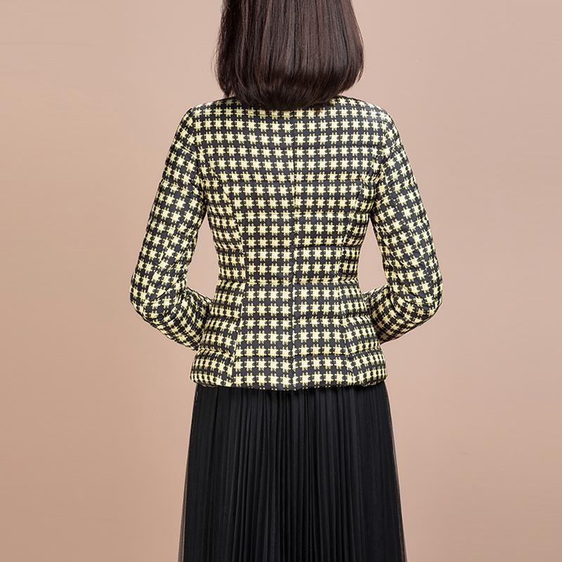 Mantel Parkas Mode Gelb Plaid hinunter Jacke für Frauen Bowknot Kragen Winter Tragen Frauen